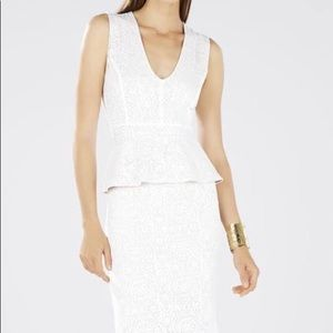 BCBG Maxazria Off White Peplum Dress